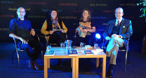 David Thorpe (left) at the Hay Literature Festival with Jane Davidson, Saci Lloyd and George Marshall.