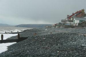 Borth beach at high tide 2010